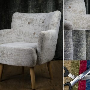 a chair upholstered in a textured chenille fabric by fibre naturelle