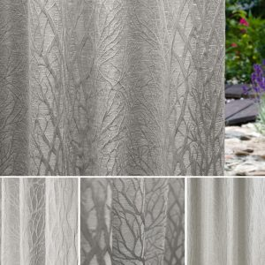 a grey curtain in a branched tree design by Fibre Naturelle