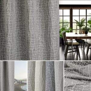 a curtain in grey crackle effect fabric by Fibre Naturelle