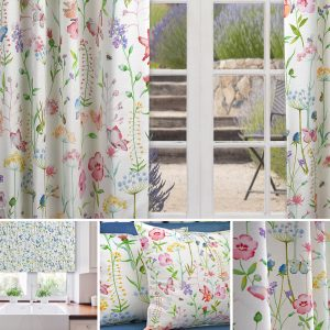 a curtain with printed flowers and butterflies by Fibre Naturelle