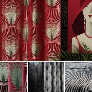 a red art deco curtain by Fibre Naturelle