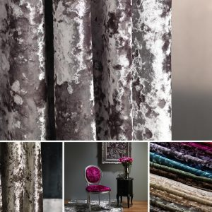 a grey crushed velvet curtain by Fibre Naturelle