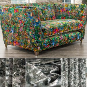 2 seater sofa upholstered in a multicoloured velvet by Fibre Naturelle