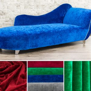 chaise upholstered in blue velvet by Fibre Naturelle
