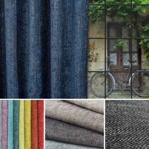 This is a collection of images showing the herringbone textures of the Cambridge fabric collection by Fibre Naturelle