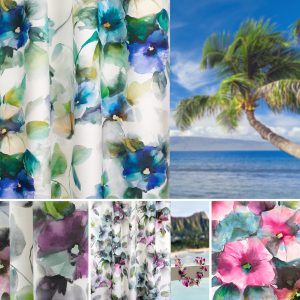 This is a collection of images depicting the Hawaii fabric collection by Fibre Naturelle