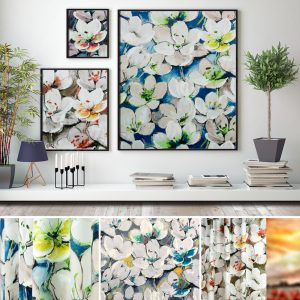 An image of three picture frames displaying the Tulipa floral velvet collection by Fibre Naturelle