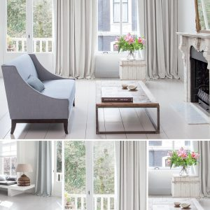 This is a collection of images showing a room-set featuring the Linden fabric collection by Fibre Naturelle