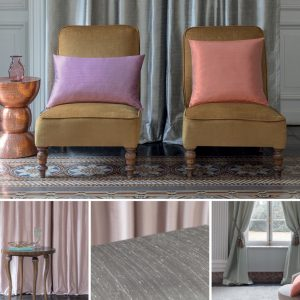 This is a collection of images featuring curtains and chairs made with Fibre Naturelle Mistral Faux silk